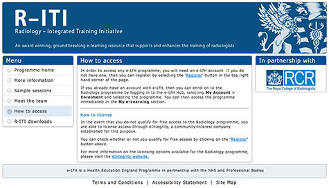 Radiology Integrated Training Initiative (R-ITI) website screenshot