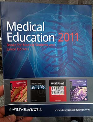 Book on the cover of Wiley-Blackwell Medical Education 2011 catalogue