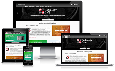 Radiology Cafe screenshot as seen on different devices