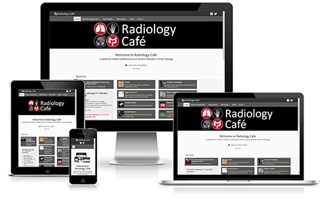 Radiology Cafe website as viewed on different devices