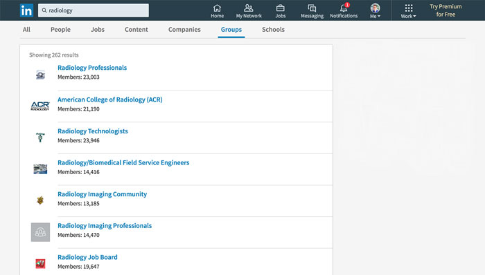Screenshot of search results for 'Radiology' groups on LinkedIn (262 results)